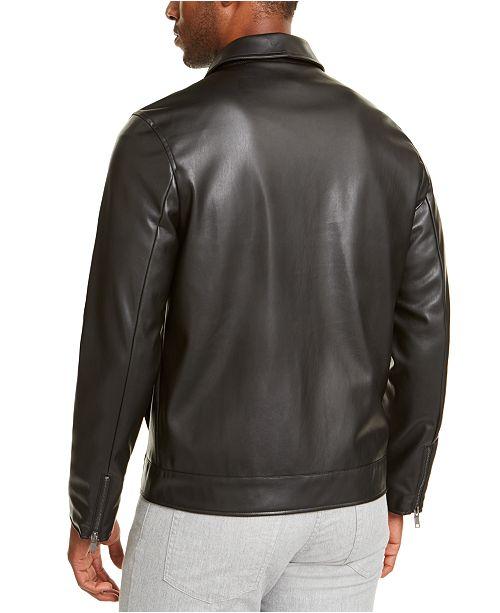 alfani men's faux leather harrington jacket, created for macy's