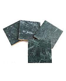 Green Marble Coasters with Gold Trim, Set of 4