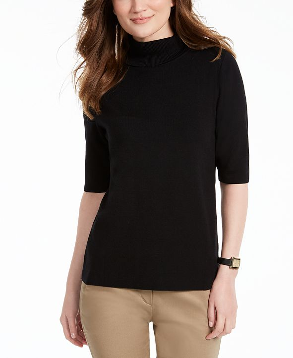 Alfani Elbow-Sleeve Turtleneck Sweater, Created for Macy's