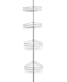 4-Tier Spring Tension Shower Corner Pole Caddy with Razor Holder