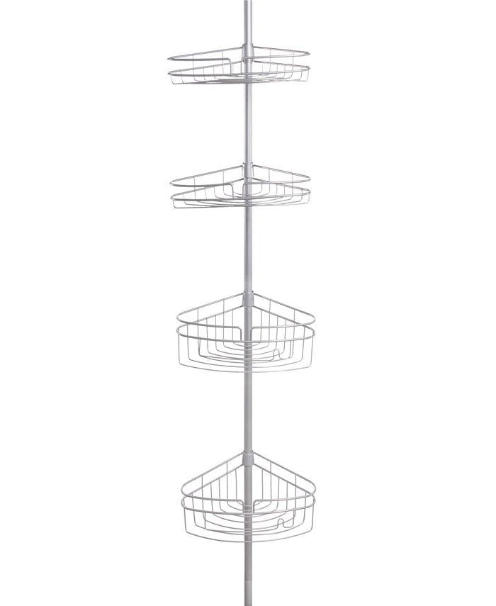 Kenney - 4-Tier Spring Tension Shower Corner Pole Caddy with Razor Holder