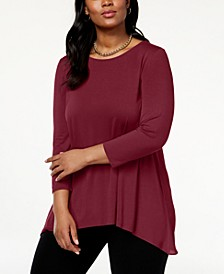 Plus Size Woven-Back Top, Created for Macy's