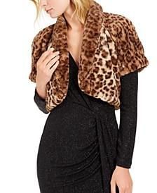 Leopard-Print Faux-Fur Shrug
