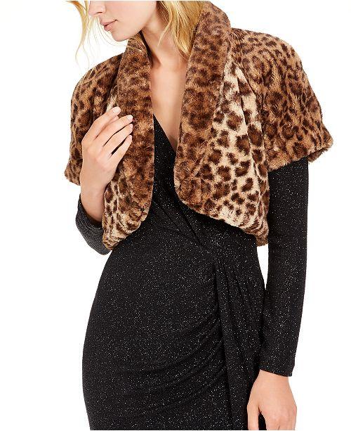 Vince Camuto Leopard-Print Faux-Fur Shrug