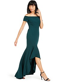 Off-The-Shoulder High-Low Gown