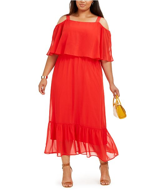 NY Collection Plus Size Cold-Shoulder Popover Maxi Dress