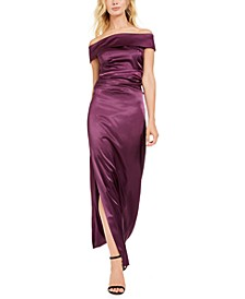 Off-Shoulder Ruched-Waist Gown
