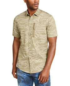 Sean John Men's Camouflage Military Flight Short Sleeve Shirt