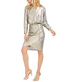 Metallic Cowl-Back Bodycon Dress