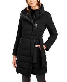 Tahari Asymmetrical Belted Packable Puffer Coat