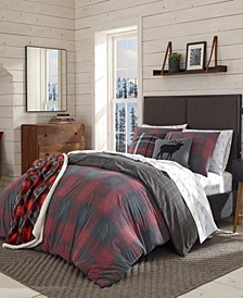 Cattle River Plaid Red Duvet Cover Set, Full/Queen