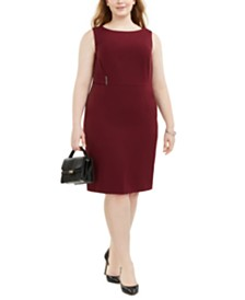 Kasper Plus Size Side-Hardware Sheath Dress