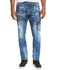 Men's Straight-Leg Stretch Paisley Distressed Jeans