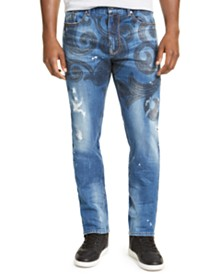 Sean John Men's Straight-Leg Stretch Paisley Distressed Jeans