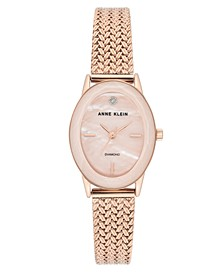 Women's Diamond-Accent Rose Gold-Tone Stainless Steel Mesh Bracelet Watch 24x30mm
