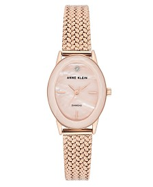 Anne Klein Women's Diamond-Accent Rose Gold-Tone Stainless Steel Mesh Bracelet Watch 24x30mm