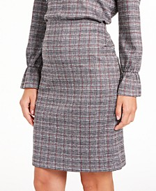 Metallic Plaid-Print Skirt