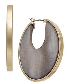 Gold-Tone Stone Medium Hoop Earrings , Created for Macy's