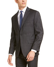 Michael Kors Men's Classic-Fit Airsoft Stretch Gray/Blue Windowpane Suit Jacket