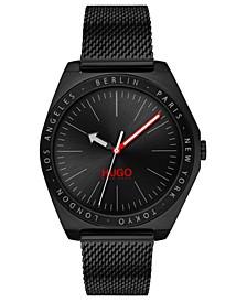 Men's #Act Black Stainless Steel Mesh Bracelet Watch 44mm