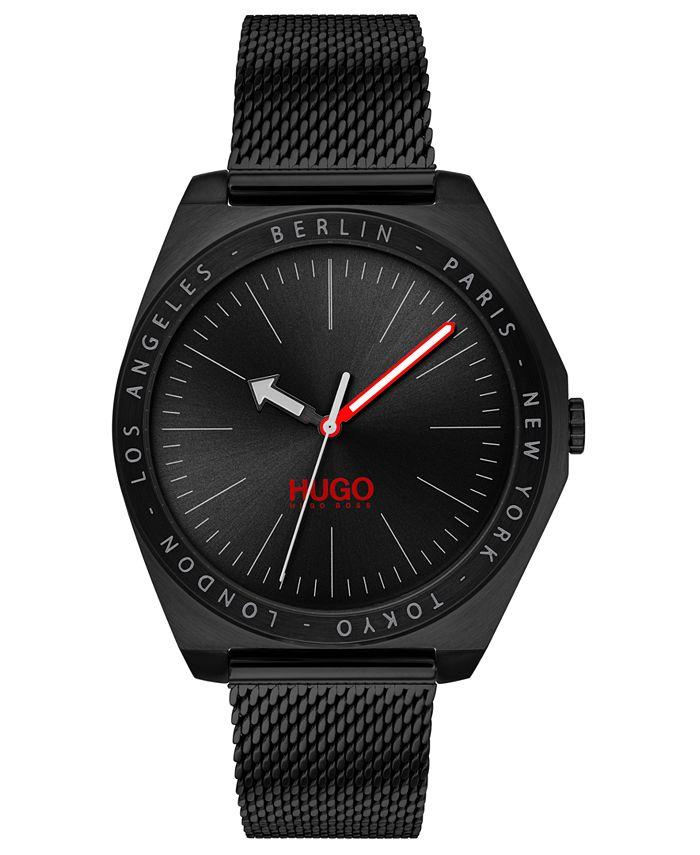 HUGO - Men's #Act Black Stainless Steel Mesh Bracelet Watch 44mm