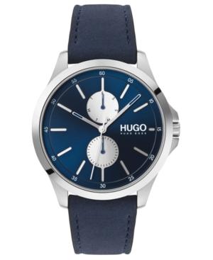 Hugo Men's #Jump Blue Leather Strap Watch 40mm