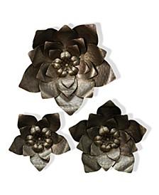 Gold Flower Power Metal Art - Set Of 3