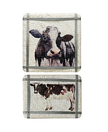 Painted Cow Baskets with Galvanized Detail - Set of 2