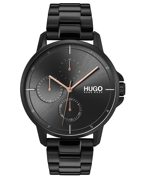 HUGO Men's #Focus Black Stainless Steel Bracelet Watch 42mm