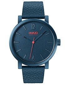Men's #Rase Blue Leather Strap Watch 42mm