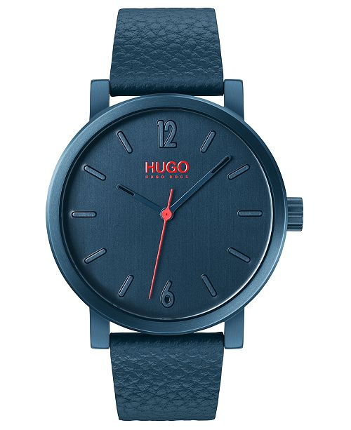 HUGO Men's #Rase Blue Leather Strap Watch 42mm