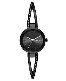 Women's Crosswalk Black Stainless Steel Bangle Bracelet Watch 26mm