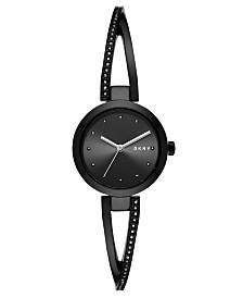 DKNY Women's Crosswalk Black Stainless Steel Bangle Bracelet Watch 26mm