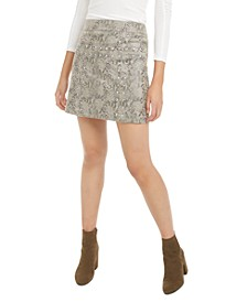 Studded Snake-Print Faux-Suede Mini Skirt, Created for Macy's