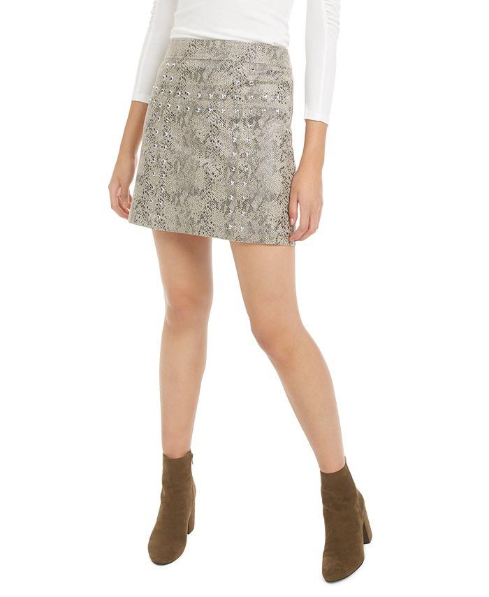 Bar III - Studded Snake-Print Denim Mini Skirt
