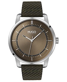 HUGO Men's #Reveal Green Leather Strap Watch 44mm