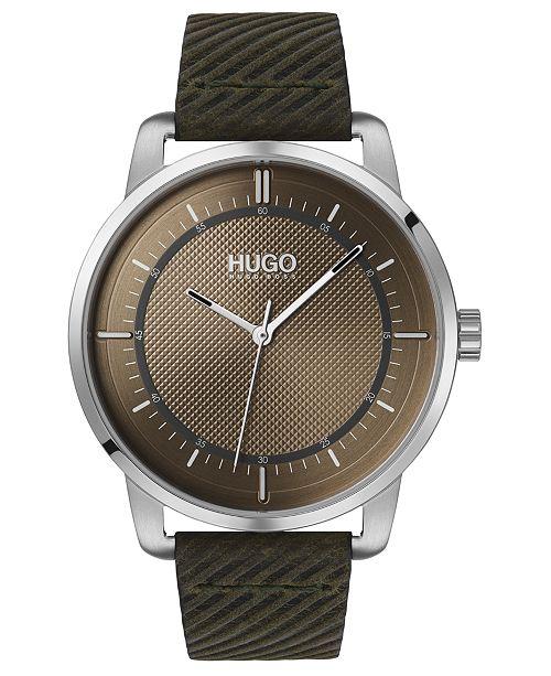 HUGO Men's #Reveal Green Leather Strap Watch 44mm