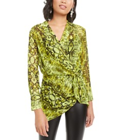 Bar III Printed Twist-Front Top, Created for Macy's
