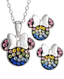 Disney© Children's 2-Pc. Set Crystal Multicolor Minnie Mouse Pendant Necklace and Stud Earrings in Sterling Silver
