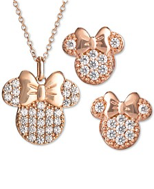 Disney© Children's 2-Pc. Set Cubic Zirconia Pavé Minnie Mouse Pendant Necklace & Matching Stud Earrings in 18k Rose Gold-Plated Sterling Silver
