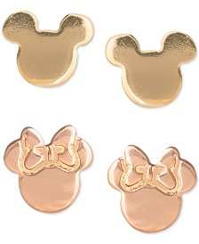 Disney© Children's 2-Pc. Set Mickey & Minnie Stud Earrings in 18k Gold- & 18k Rose Gold-Plated Sterling Silver