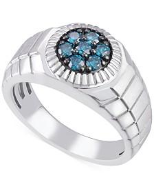 Men's Blue Diamond (1/2 ct. t.w.) in Sterling Silver
