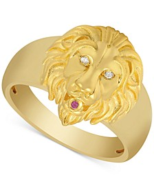 Men's Diamond Accent & Ruby Accent Lion Ring in 14k Gold Over Sterling Silver