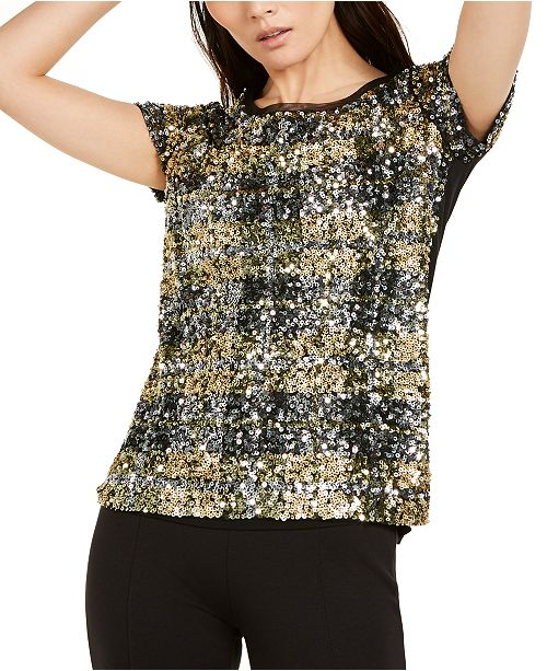INC International Concepts I.N.C. Plaid Sequin Top, Created for Macy's