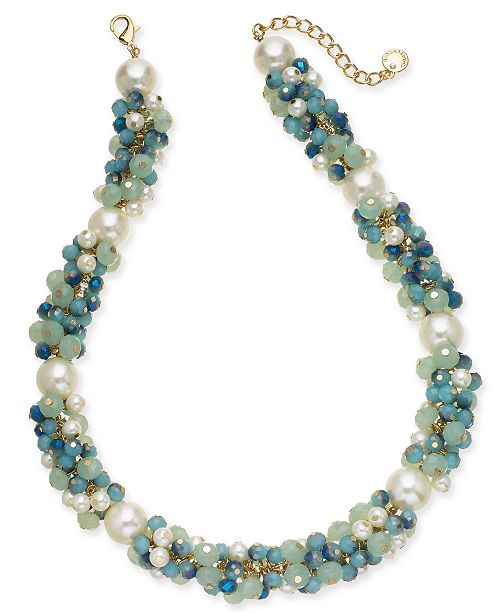 "Charter Club Gold-Tone Imitation Pearl & Bead Collar Necklace, 18"" + 2"" extender, Created For Macy's"