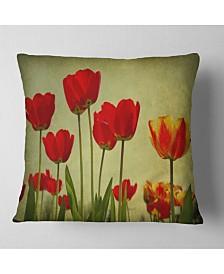 "Designart Grunge Flowers Background Floral Throw Pillow - 26"" x 26"""