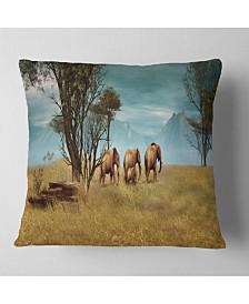 """Designart African Elephants Panorama African Throw Pillow - 26"""" x 26"""""""