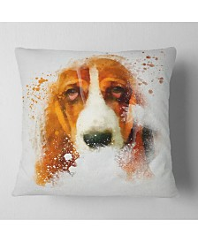 "Designart Sober Brown Dog Portrait Animal Throw Pillow - 18"" x 18"""