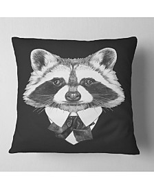 """Designart Funny Raccoon in Suit and Tie Animal Throw Pillow - 18"""" x 18"""""""