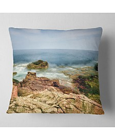 "Designart Thunder Hole Acadia National Park Oversized Beach Throw Pillow - 26"" x 26"""